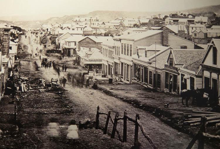 Toitu Otago Settlers Museum, Dunedin, New Zealand -- an old street photo of Dunedin