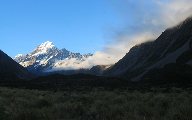 Mount Cook seen from the Hooker Valley Track, New Zealand