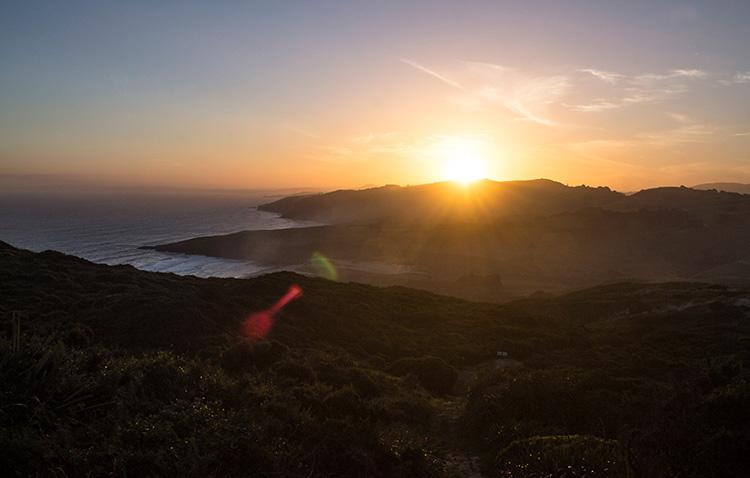 Sunset while hiking the Sandymount Track, Dunedin, New Zealand