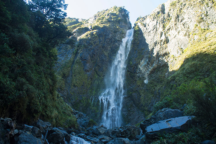 The spectacular Devil's Punchbowl waterfall, Arthur's Pass, New Zealand