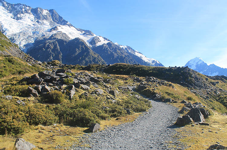 Hiking the Kea Point Track, Mount Cook National Park, New Zealand