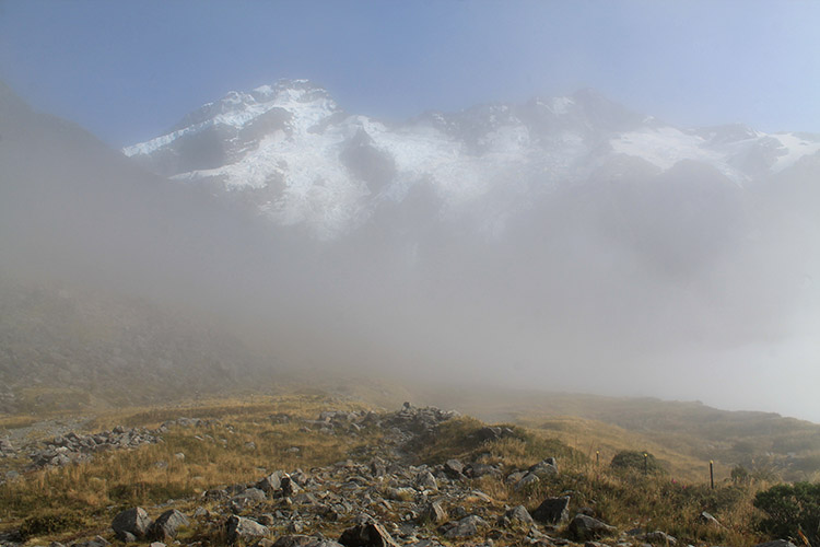 Mist on the Kea Point Track, Mount Cook National Park, New Zealand