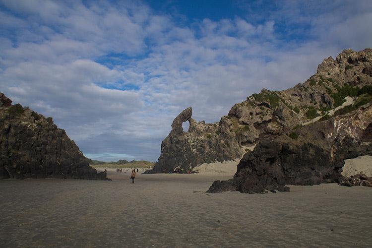 Rock formations at Aramoana Beach, Dunedin, New Zealand
