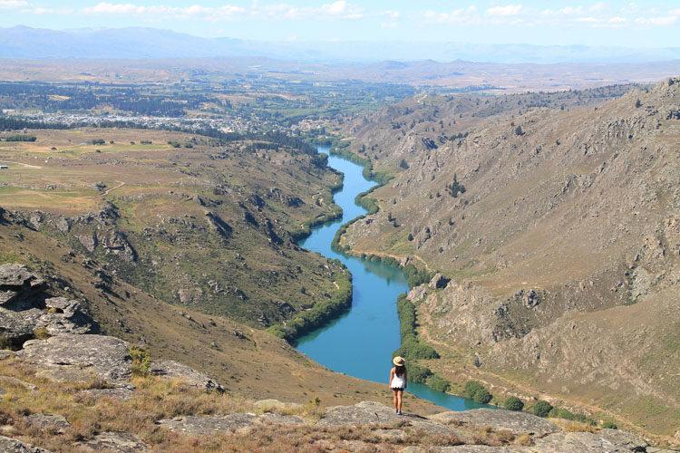 Hiking above Butchers Dam at Flat Top Hill, Alexandra, New Zealand