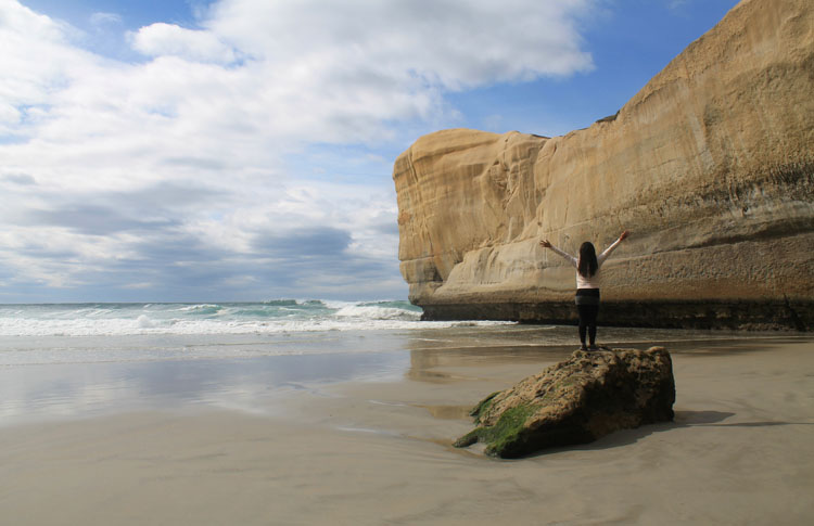 Tunnel Beach, a must-see sight in Dunedin, New Zealand