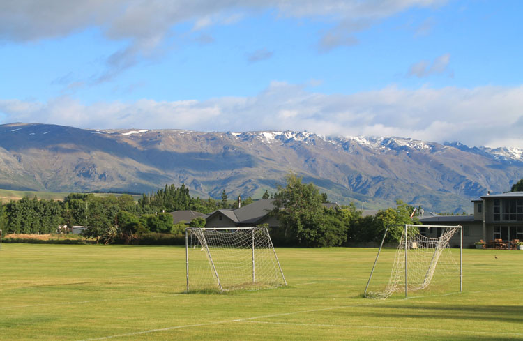 Cromwell travel guide, New Zealand: a football pitch with a view