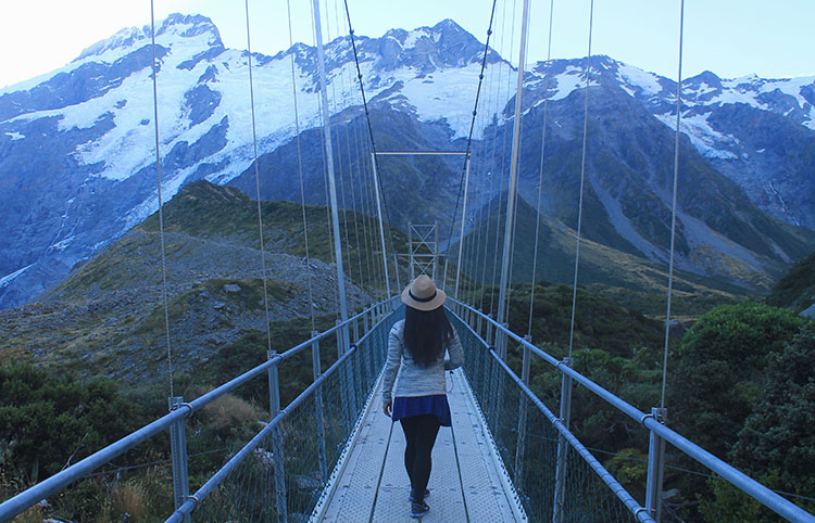 A suspension bridge on the Hooker Valley Track, Mount Cook National Park, New Zealand