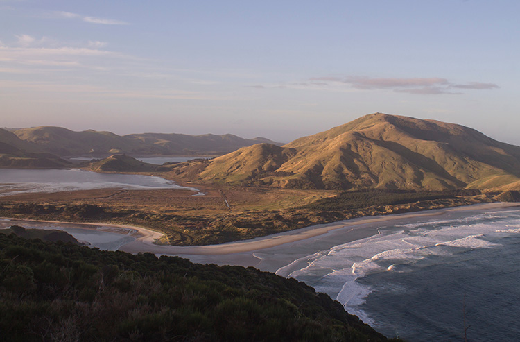 The view of Allans Beach from the Sandymount Track, Dunedin, New Zealand