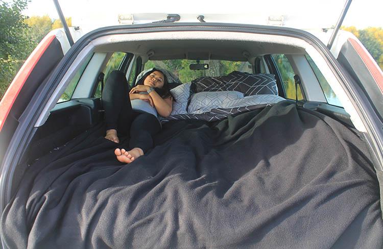Sleeping in a car at Lake Poaka, New Zealand