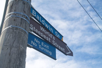 The Baldwin Street sign, Dunedin, New Zealand