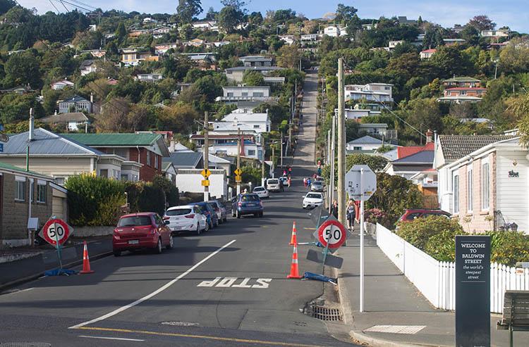 Walking up Baldwin Street, Dunedin, New Zealand