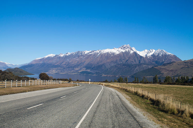 The road from Queenstown to Glenorchy, New Zealand