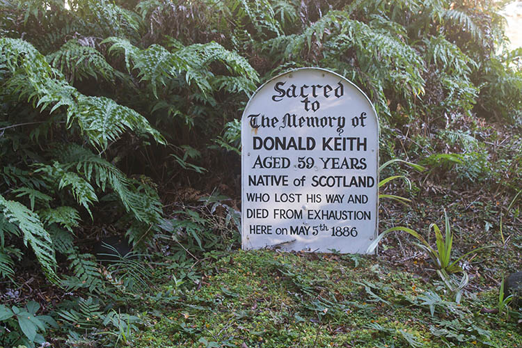 An historic grave near Humboldt Falls, New Zealand