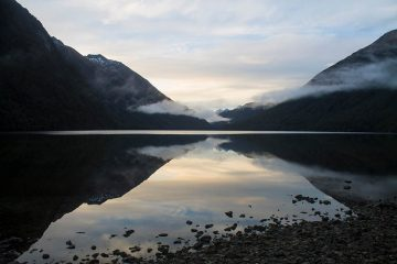 Sunset at Lake Gunn, Fiordland, New Zealand