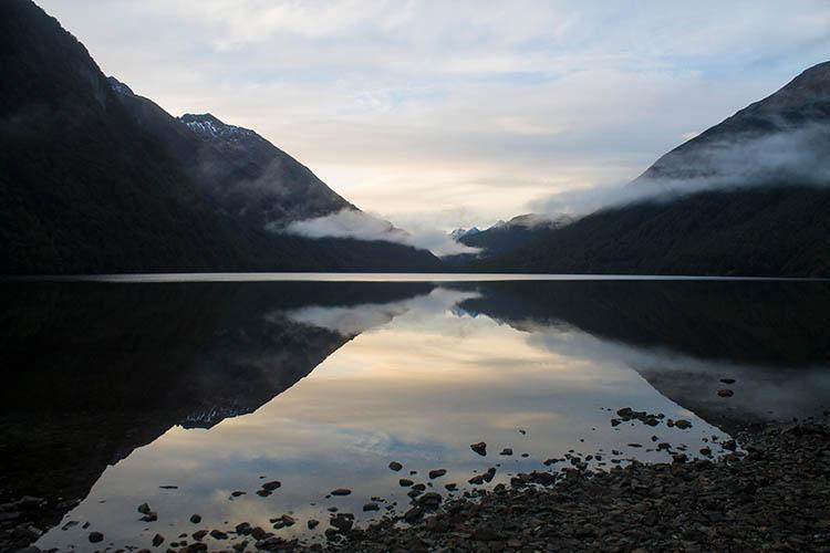 Sunset at Lake Gunn, Fiordland, New Zealand