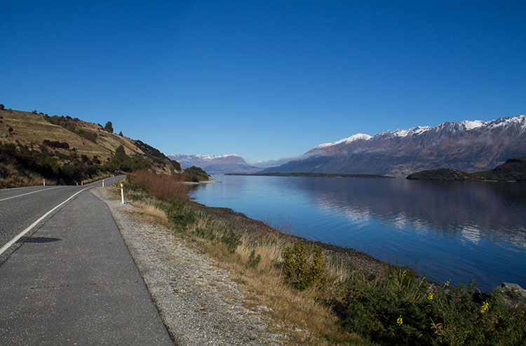 Queenstown to Glenorchy, New Zealand -- a scenic stretch of road