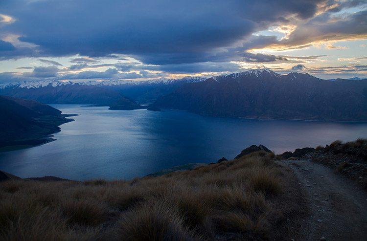 Hiking Isthmus Peak at sunrise