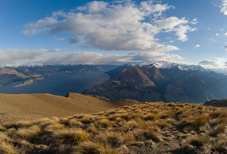 View of Lake Wanaka from Isthmus Peak, New Zealand