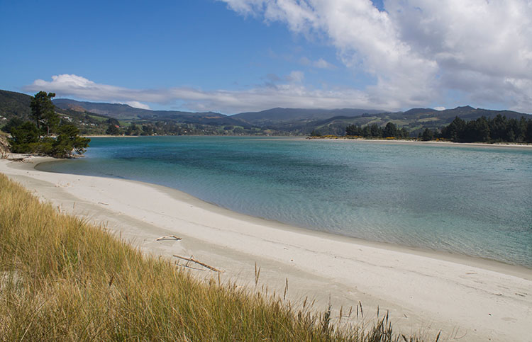 View of Blueskin Bay from Warrington Beach, Dunedin, New Zealand