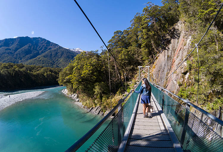 A bridge over the Blue Pools, Mount Aspiring National Park, New Zealand