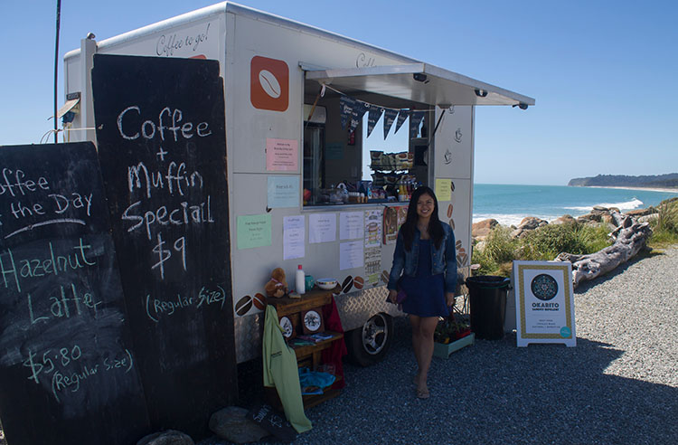 The coffee truck / cafe at Bruce Bay, West Coast, New Zealand