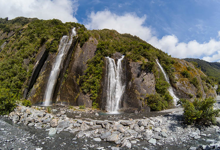 Three waterfalls, Franz Josef Glacier, New Zealand