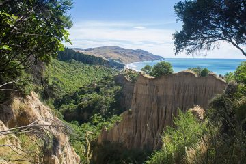 The Cathedral Cliffs overlooking Gore Bay, North Canterbury, New Zealand