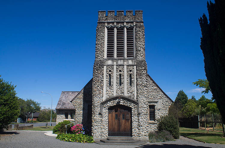 A stone church in Cheviot, the gateway to Gore Bay, New Zealand