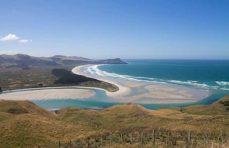 Papanui Inlet and Victory Beach from above, Dunedin