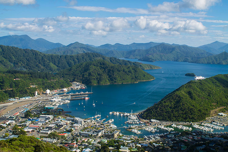 Picton and Queen Charlotte Sound from the Tirohanga Track, New Zealand