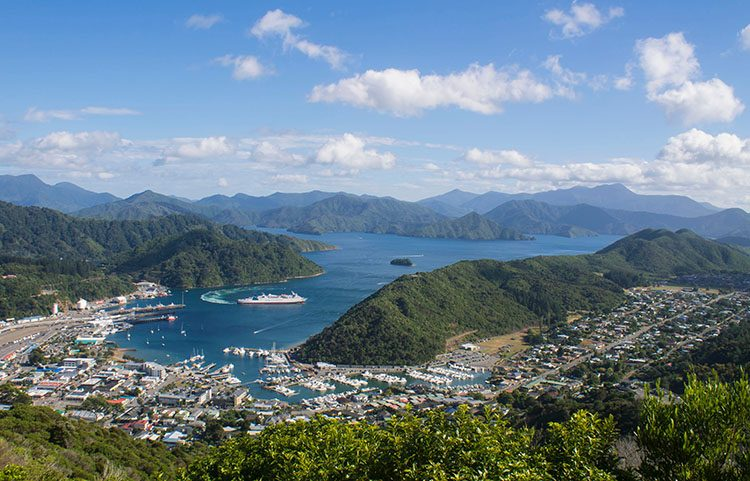 Beautiful view of Picton from the Tirohanga Track, New Zealand