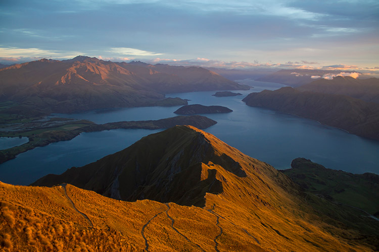 Stunning view of Lake Wanaka from Roys Peak, New Zealand
