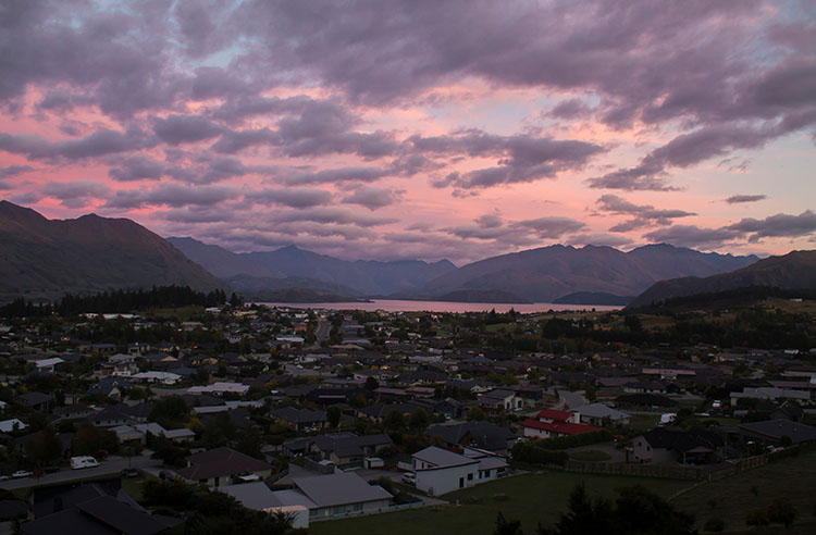 Sunrise over Wanaka from Mount Iron, New Zealand