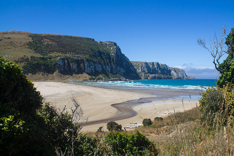 Stunning view of Purakaunui Bay, the Catlins, New Zealand