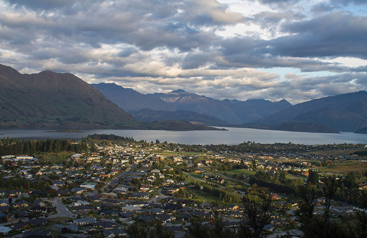 View of Wanaka from the Mount Iron Track, New Zealand