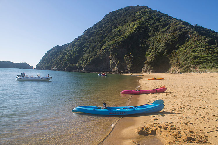 Kayaks at Tata Beach, Golden Bay, New Zealand