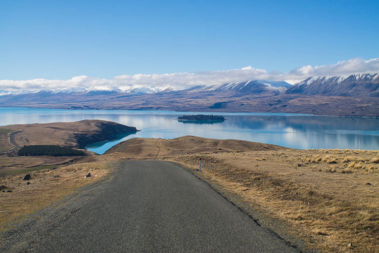 The road to Mount John Observatory, Lake Tekapo, New Zealand