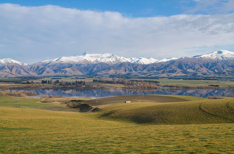 Lake Opuha, Mackenzie Basin, New Zealand