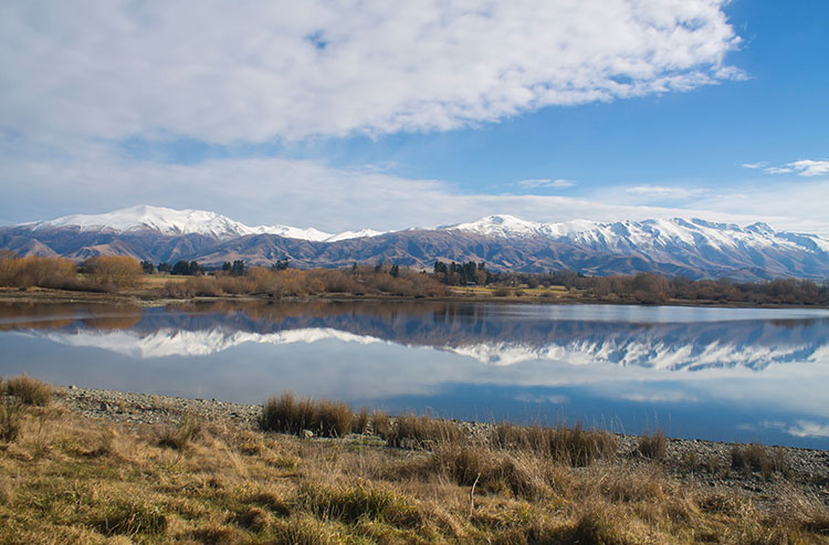 Lake Opuha, one of the best places to see in the Mackenzie Basin, New Zealand