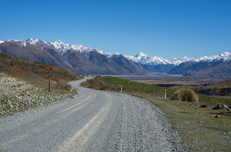 A winding road in the Ashrburton Lakes region, New Zealand