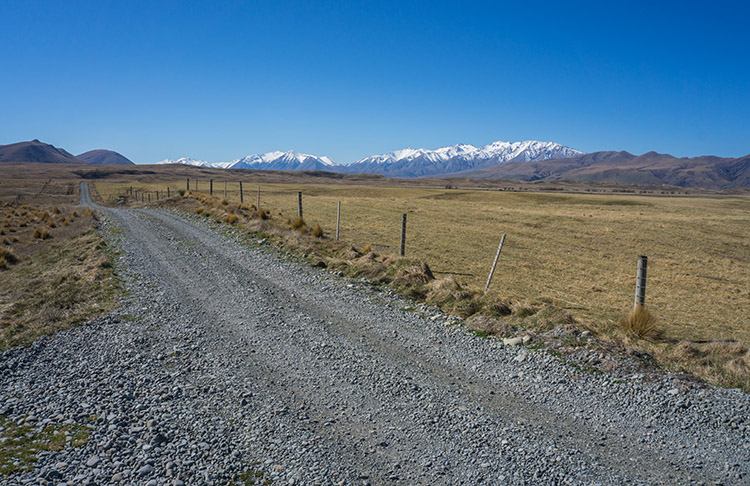 The road to Lake Emma and Lake Roundabout, Ashburton Lakes, New Zealand
