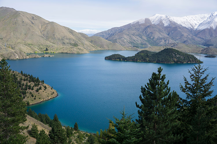 A view of the islands from the Benmore Peninsula Track, Waitaki Valley, New Zealand