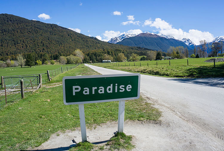 Paradise road sign, Queenstown, New Zealand