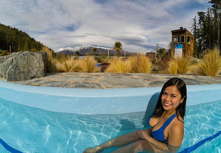 Relaxing at hot pools in Lake Tekapo, New Zealand