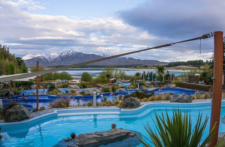 Hot pools in Lake Tekapo, New Zealand