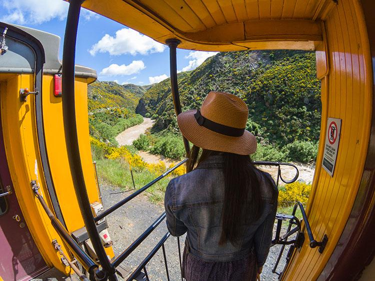 Taieri Gorge Railway -- on the train
