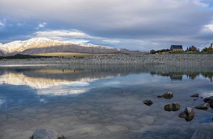 Reflections in Lake Tekapo, New Zealand