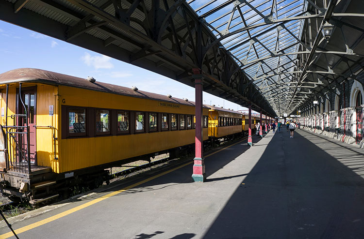 Taieri Gorge Railway -- waiting for the train