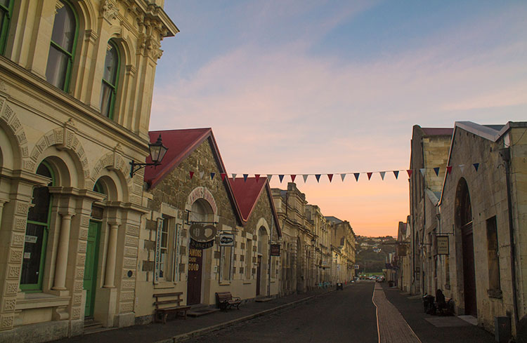 Sunset in the old town, Oamaru, New Zealand