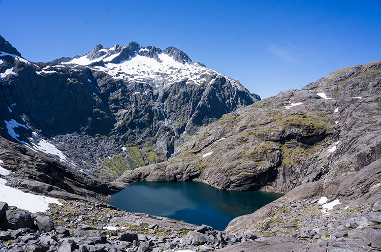 Black Lake from above on the Gertrude Saddle Track, New Zealand